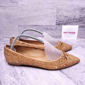 Aerin Irving Pointed Laser Cut Flats Tan 8.5